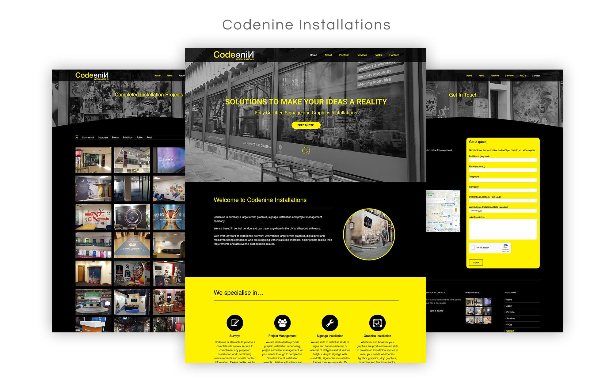 Code Nine Installations Website